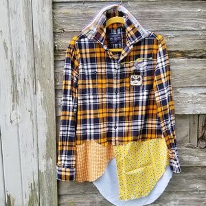 Boho Flannel Plaid Owl Patchwork Upcycled Shirt